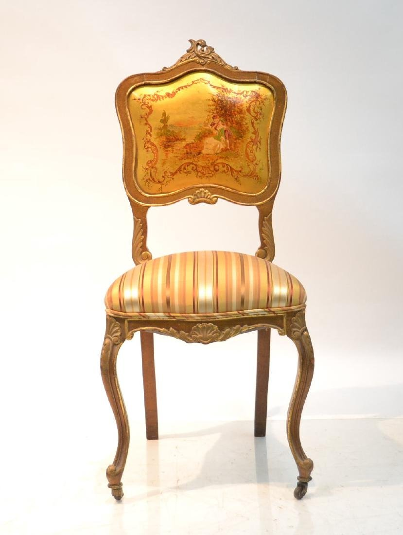 FRENCH VERNIS MARTIN PAINT DECORATED DESK CHAIR