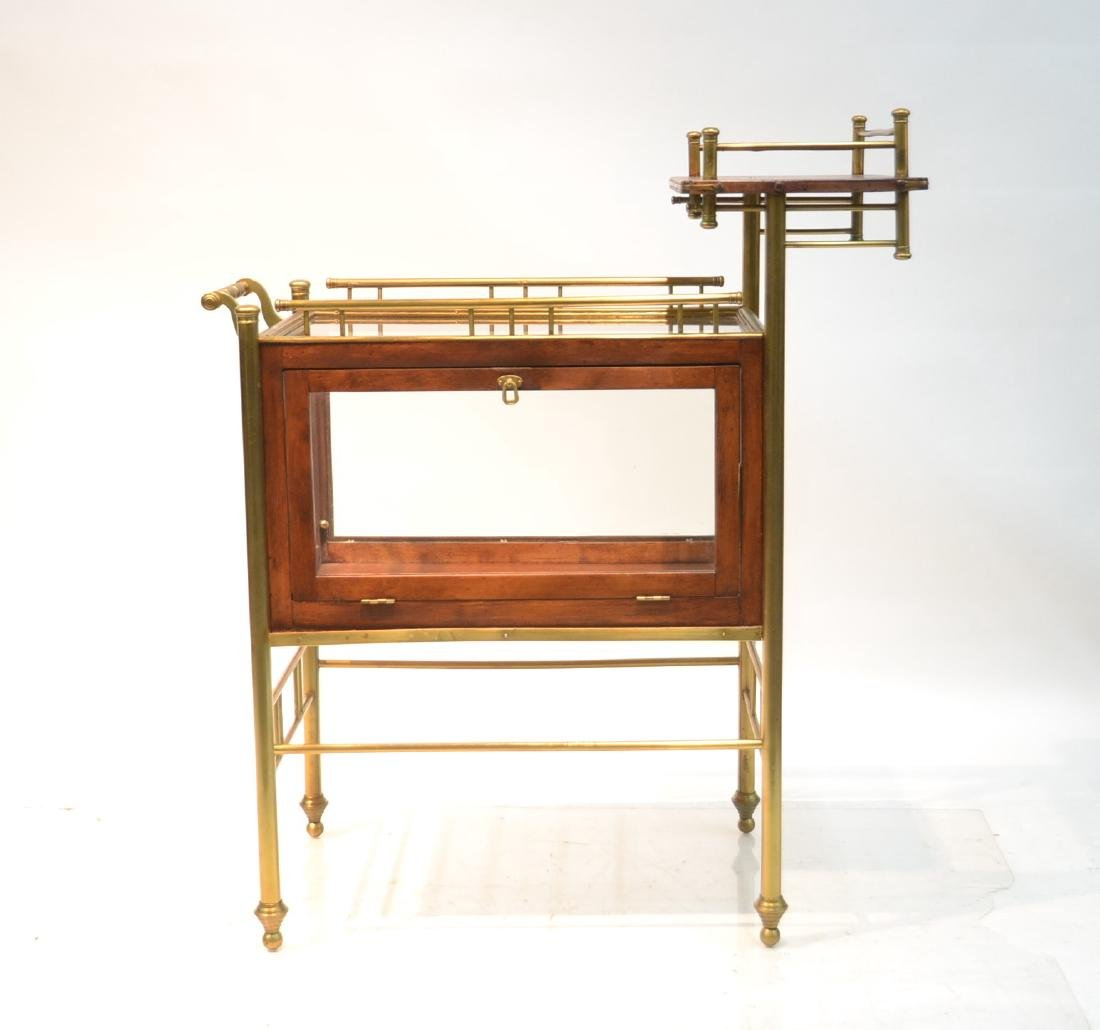 ROLLING BEVERAGE CART WITH BRONZE GALLERY