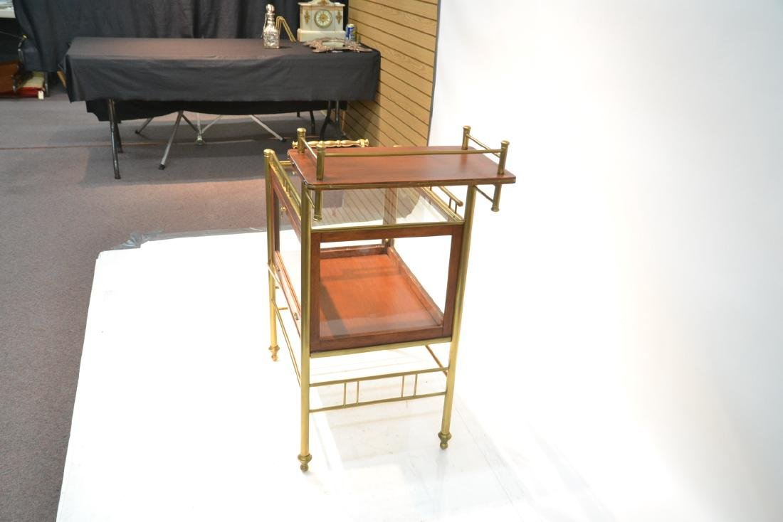 ROLLING BEVERAGE CART WITH BRONZE GALLERY - 5