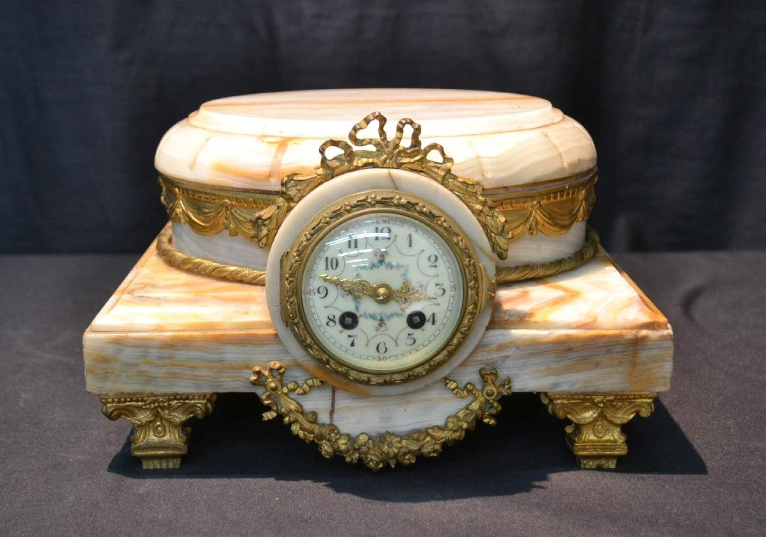 FRENCH ONYX CLOCK PLATEAU WITH BRONZE MOUNTS