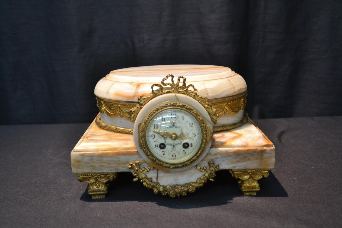 FRENCH ONYX CLOCK PLATEAU WITH BRONZE MOUNTS - 2