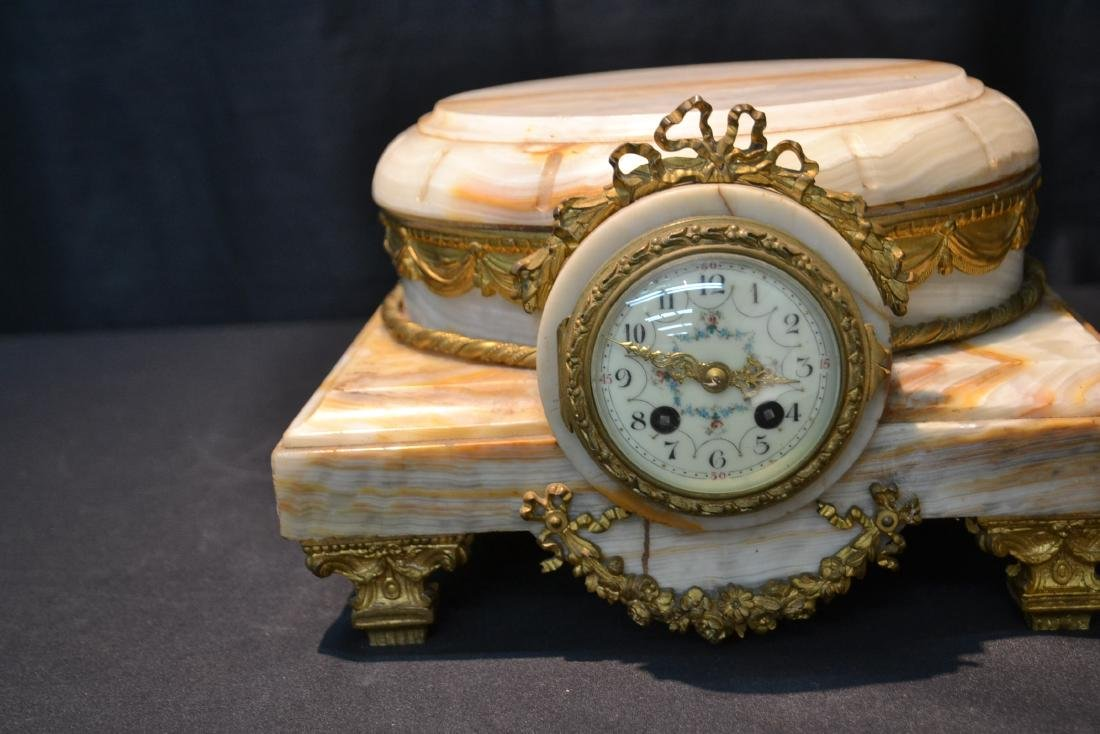FRENCH ONYX CLOCK PLATEAU WITH BRONZE MOUNTS - 4