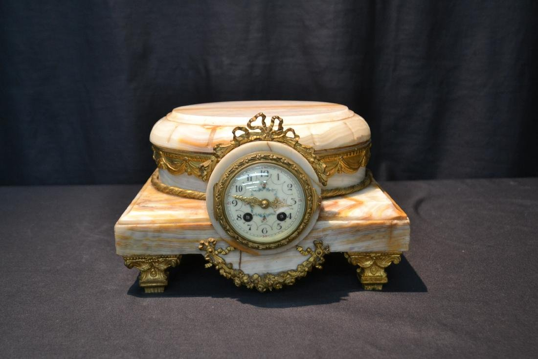 FRENCH ONYX CLOCK PLATEAU WITH BRONZE MOUNTS - 8