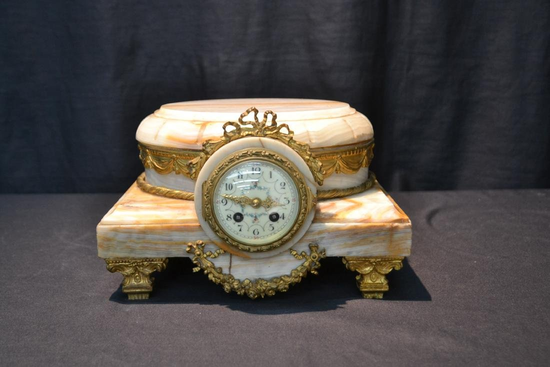 FRENCH ONYX CLOCK PLATEAU WITH BRONZE MOUNTS - 9