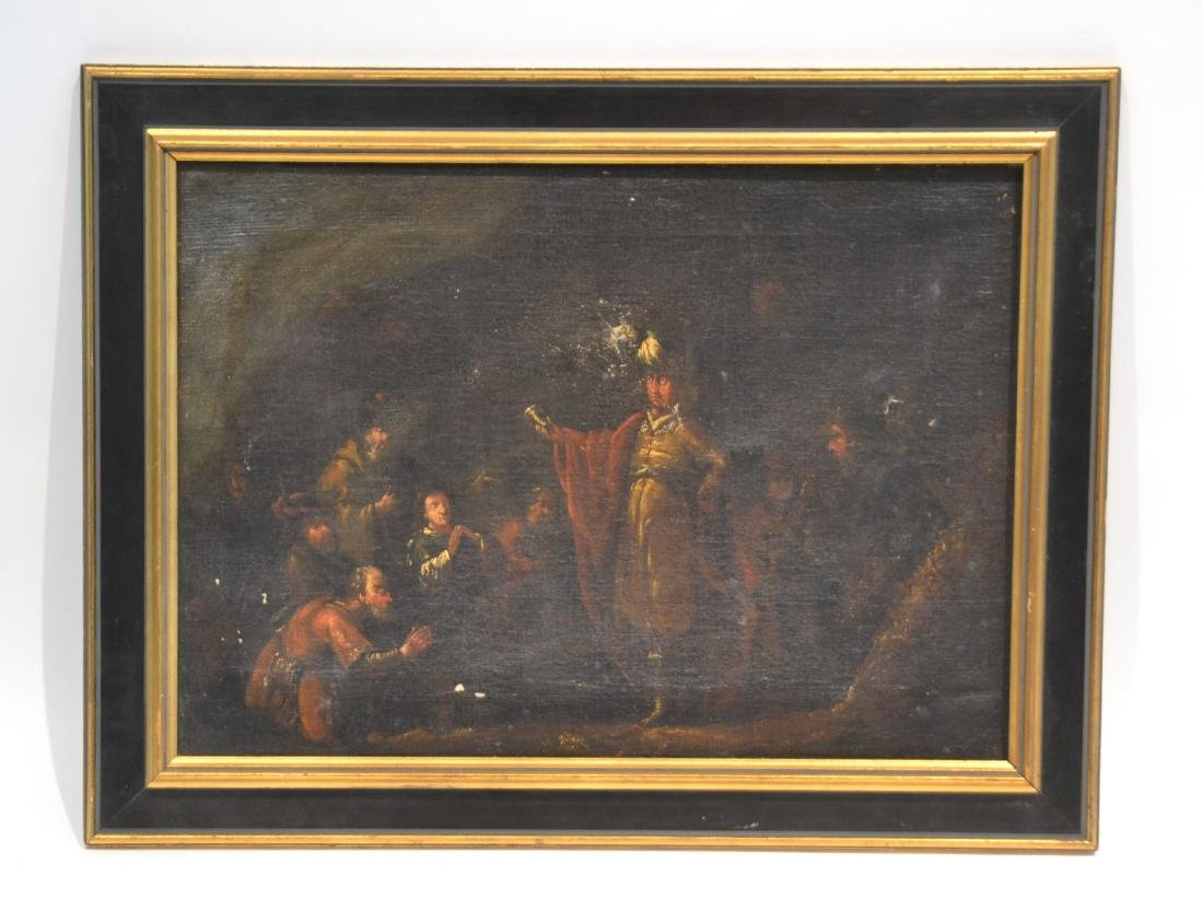 19thC AUSTRIAN OIL ON CANVAS OF PEASANTS BY
