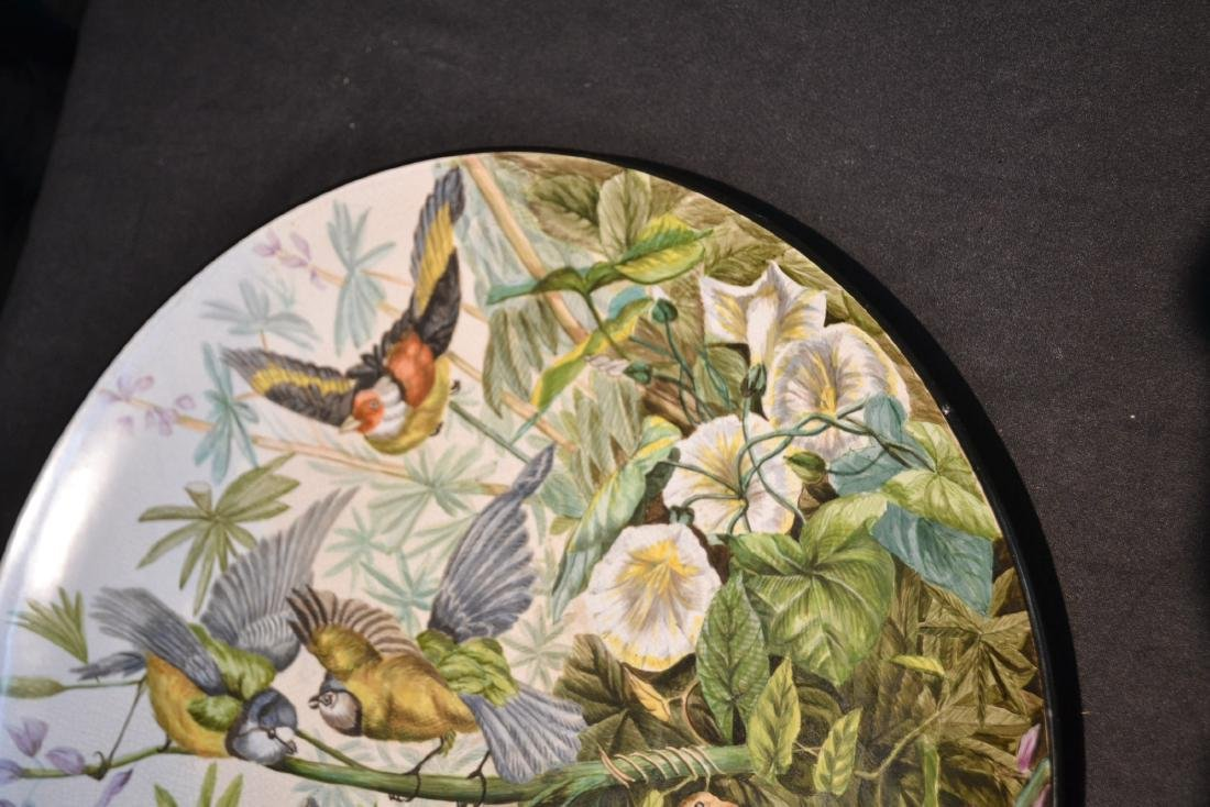 "HAND PAINTED PORCELAIN BIRD CHARGER - 16 1/2"" - 5"