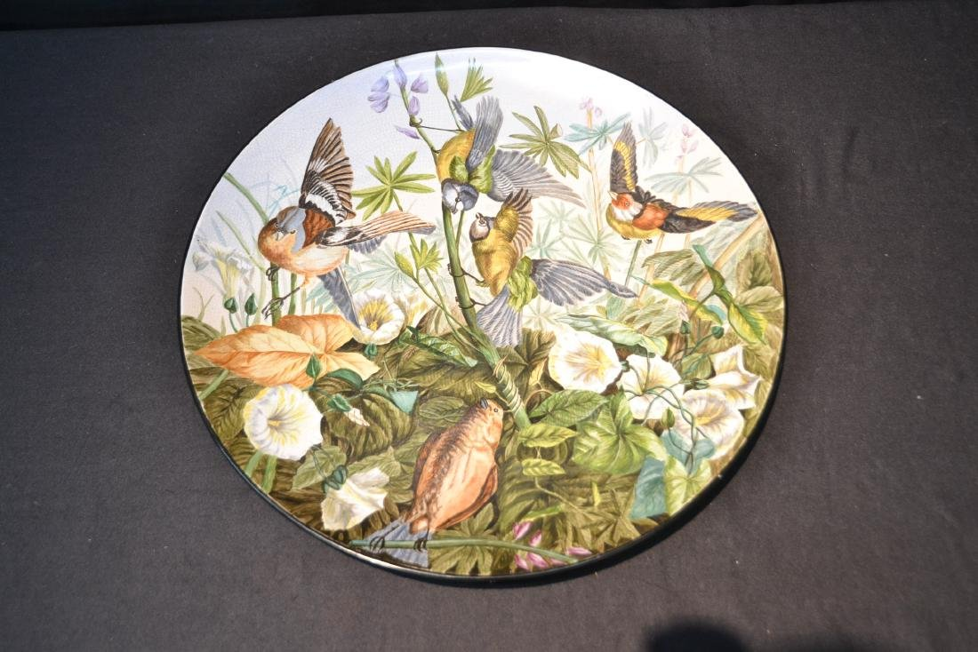 "HAND PAINTED PORCELAIN BIRD CHARGER - 16 1/2"" - 8"