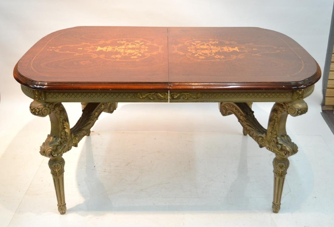 MARQUETRY INLAID DINING ROOM TABLE