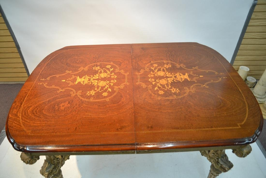 MARQUETRY INLAID DINING ROOM TABLE - 4
