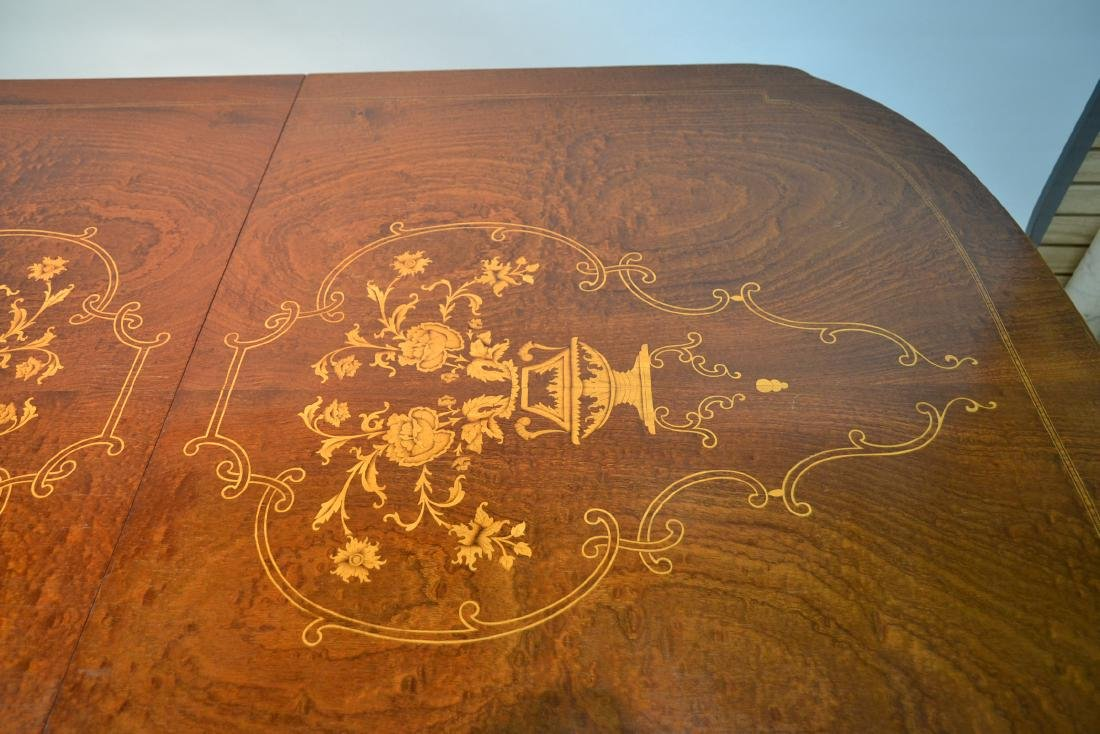 MARQUETRY INLAID DINING ROOM TABLE - 5