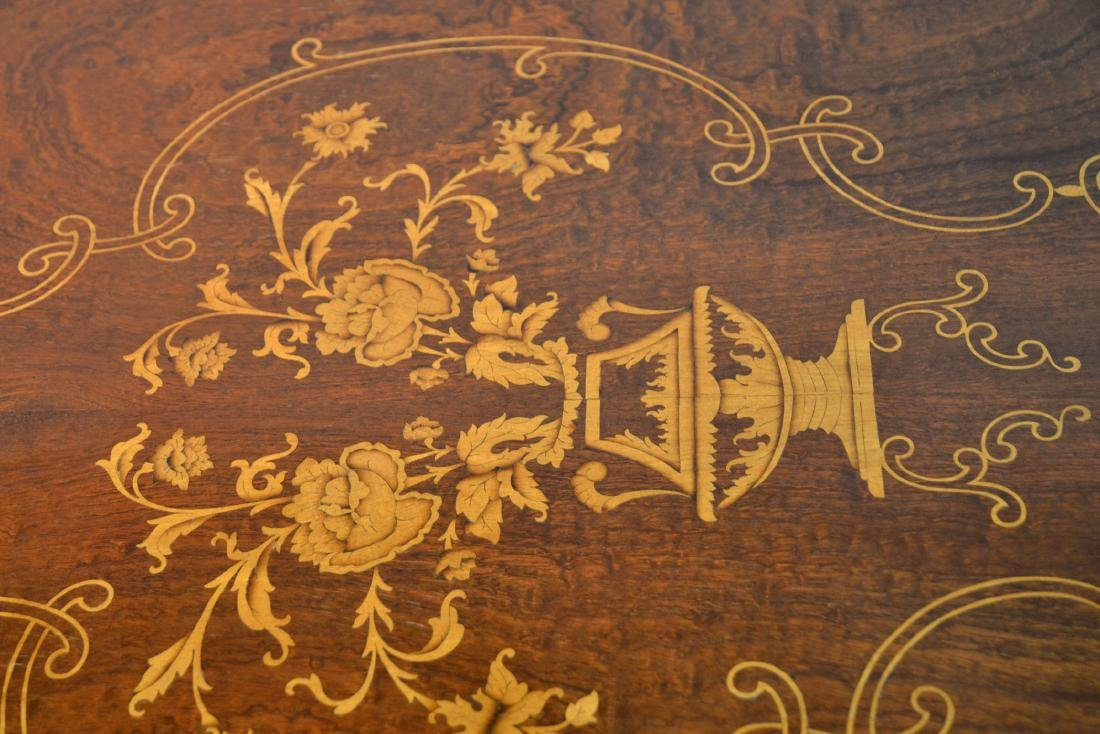 MARQUETRY INLAID DINING ROOM TABLE - 6