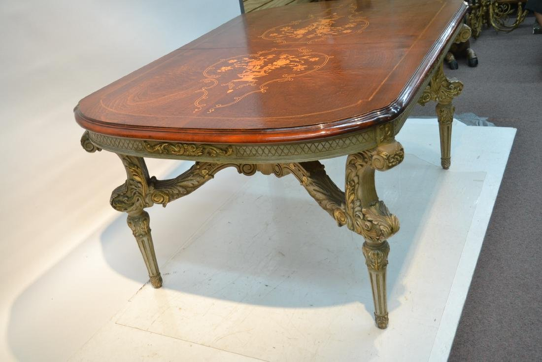 MARQUETRY INLAID DINING ROOM TABLE - 7