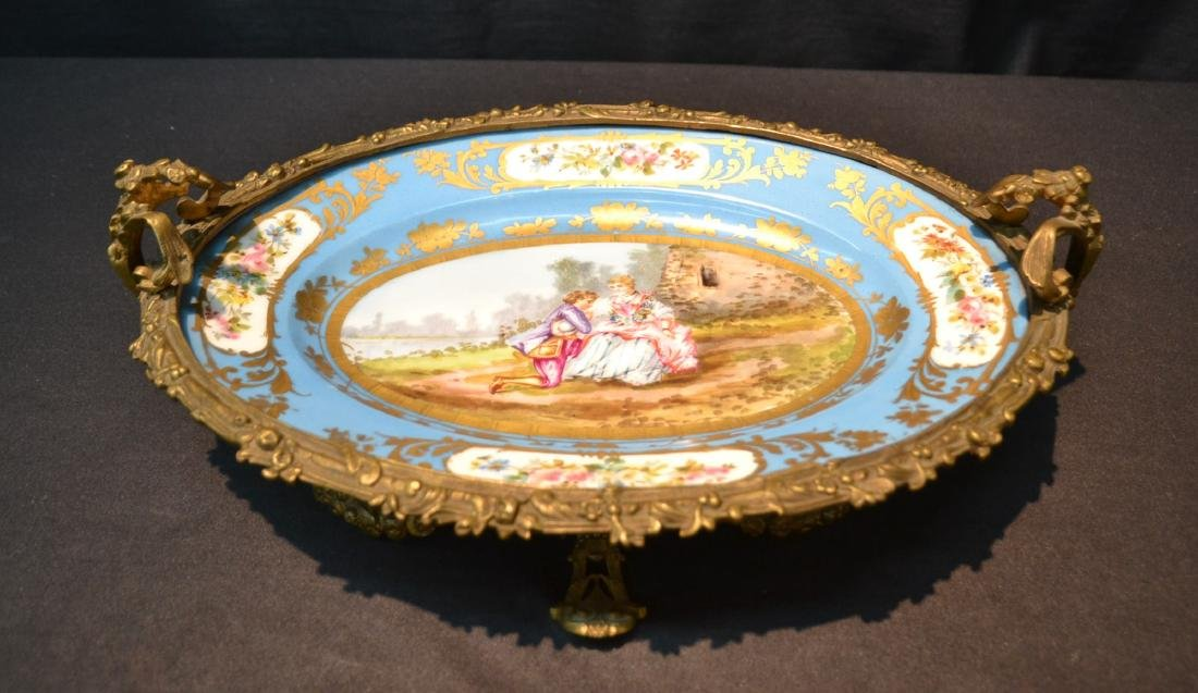 OVAL SEVRES & BRONZE CENTERPIECE TAZZA WITH