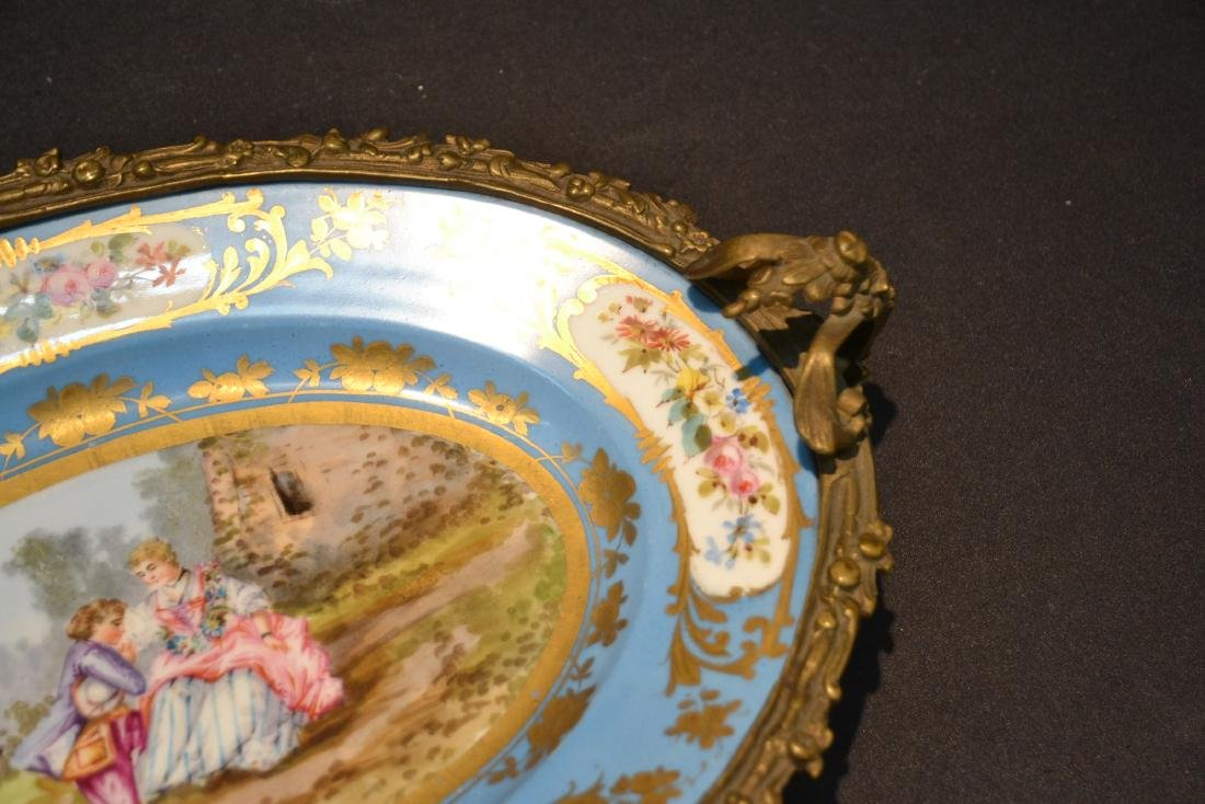 OVAL SEVRES & BRONZE CENTERPIECE TAZZA WITH - 5