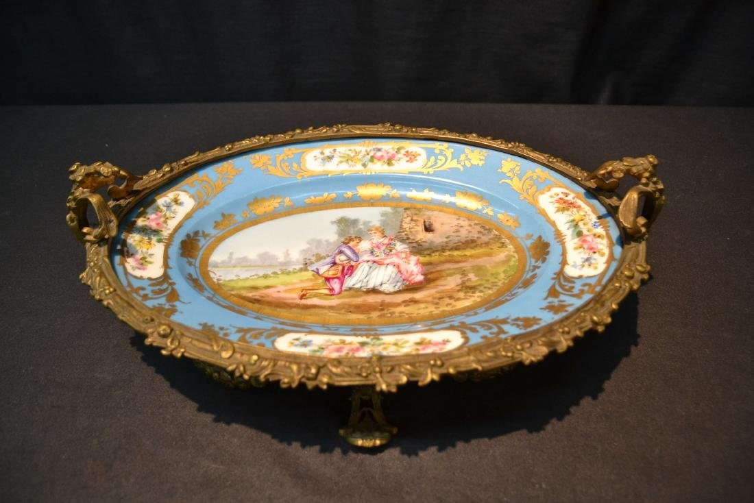 OVAL SEVRES & BRONZE CENTERPIECE TAZZA WITH - 9