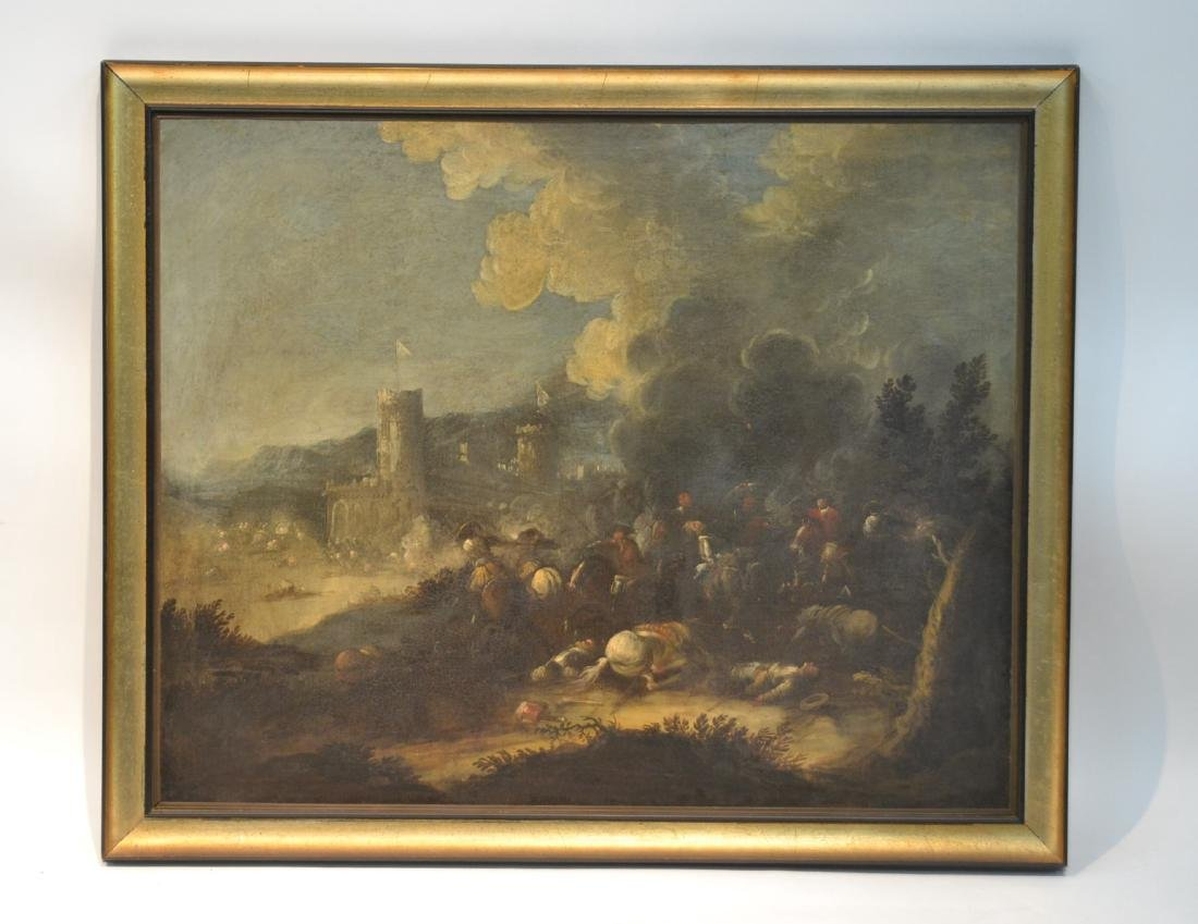 "17thC FLEMISH OIL ON CANVAS ""SKIRMISH"""