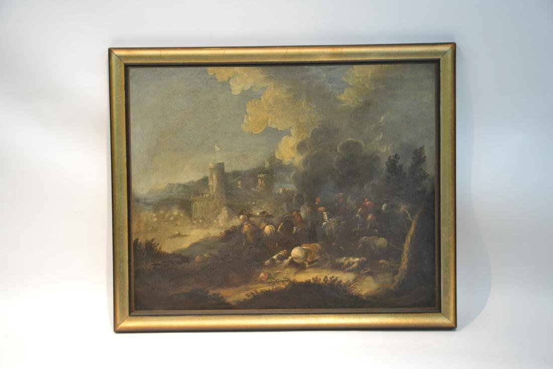 "17thC FLEMISH OIL ON CANVAS ""SKIRMISH"" - 2"