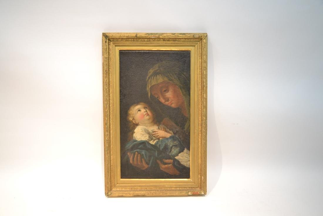 17thC ITALIAN OIL ON CANVAS OF MOTHER & CHILD - 10