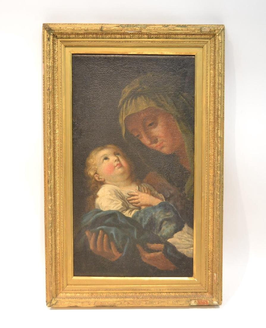 17thC ITALIAN OIL ON CANVAS OF MOTHER & CHILD