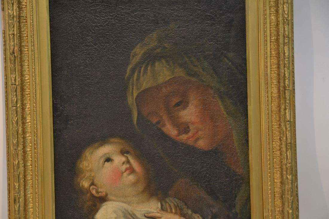 17thC ITALIAN OIL ON CANVAS OF MOTHER & CHILD - 2