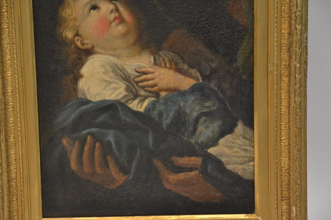 17thC ITALIAN OIL ON CANVAS OF MOTHER & CHILD - 3