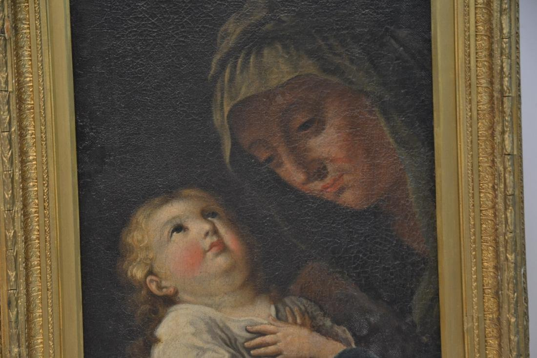 17thC ITALIAN OIL ON CANVAS OF MOTHER & CHILD - 4