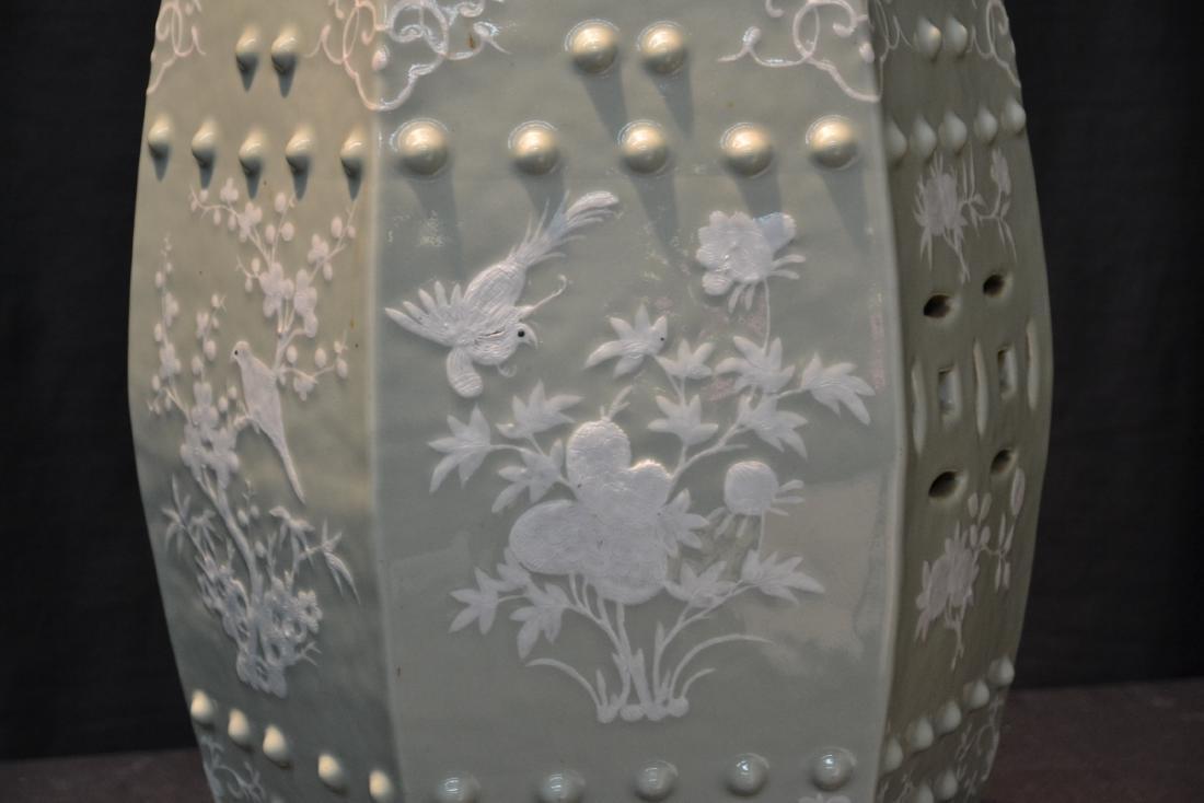 "CHINESE CELEDON GARDEN SEAT - 12"" x 19"" - 3"