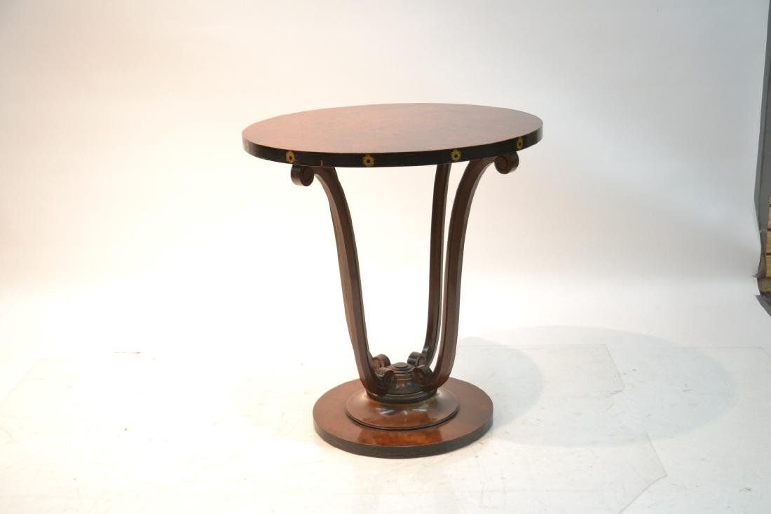 DECO STYLE ROUND BURLED SIDE TABLE - 2