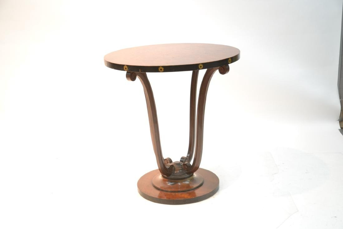 DECO STYLE ROUND BURLED SIDE TABLE - 3