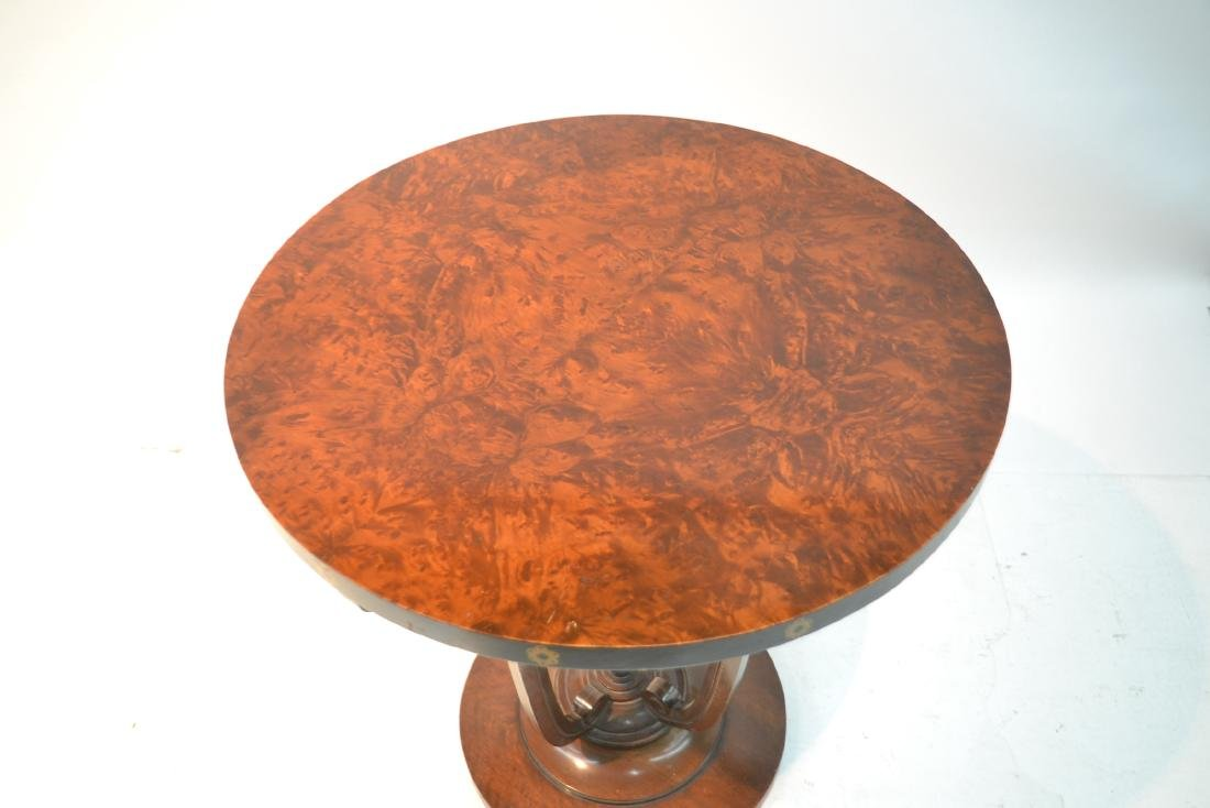 DECO STYLE ROUND BURLED SIDE TABLE - 5