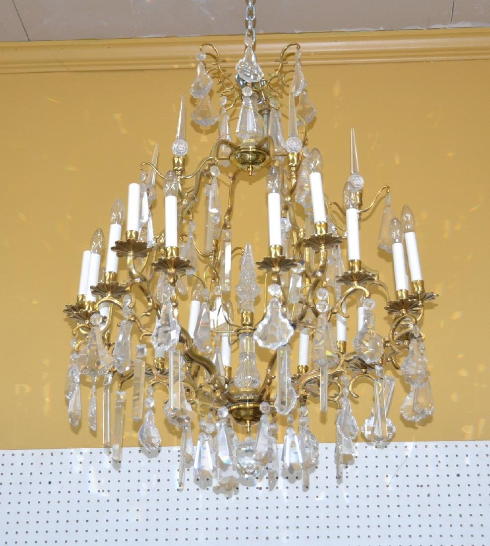 LARGE 18-LIGHT BRONZE & CRYSTAL BIRDCAGE CHANDELIER