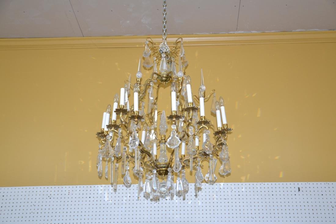 LARGE 18-LIGHT BRONZE & CRYSTAL BIRDCAGE CHANDELIER - 2
