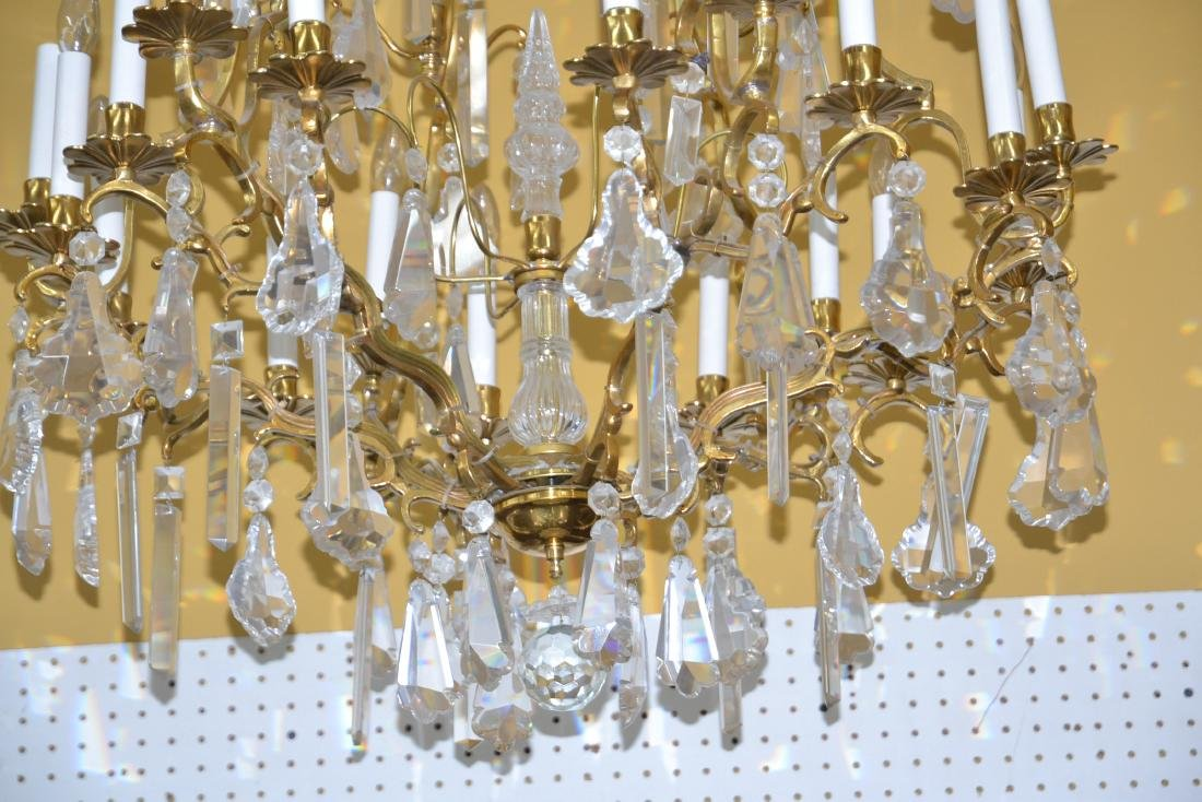 LARGE 18-LIGHT BRONZE & CRYSTAL BIRDCAGE CHANDELIER - 3