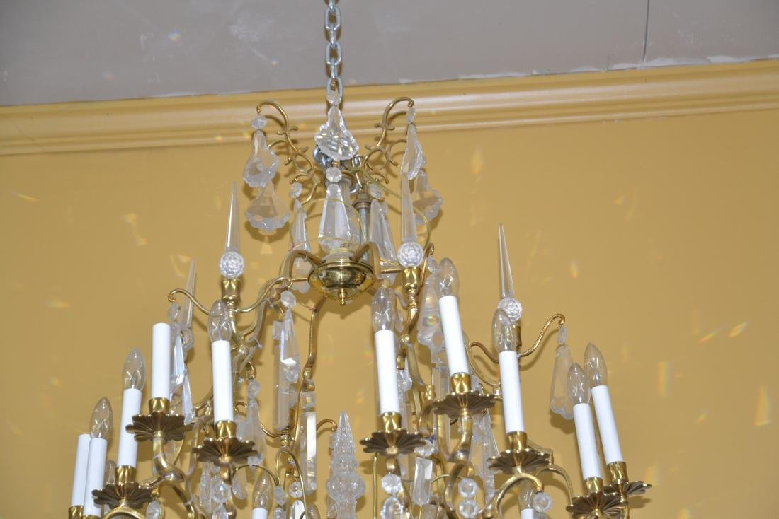 LARGE 18-LIGHT BRONZE & CRYSTAL BIRDCAGE CHANDELIER - 4