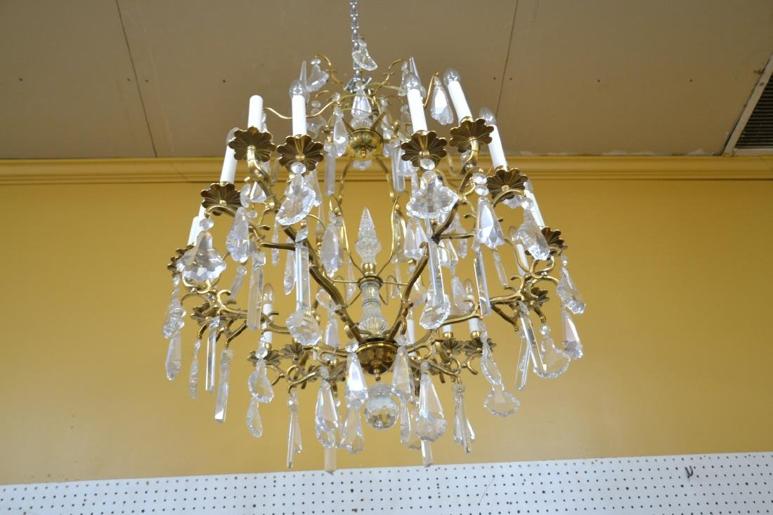 LARGE 18-LIGHT BRONZE & CRYSTAL BIRDCAGE CHANDELIER - 7