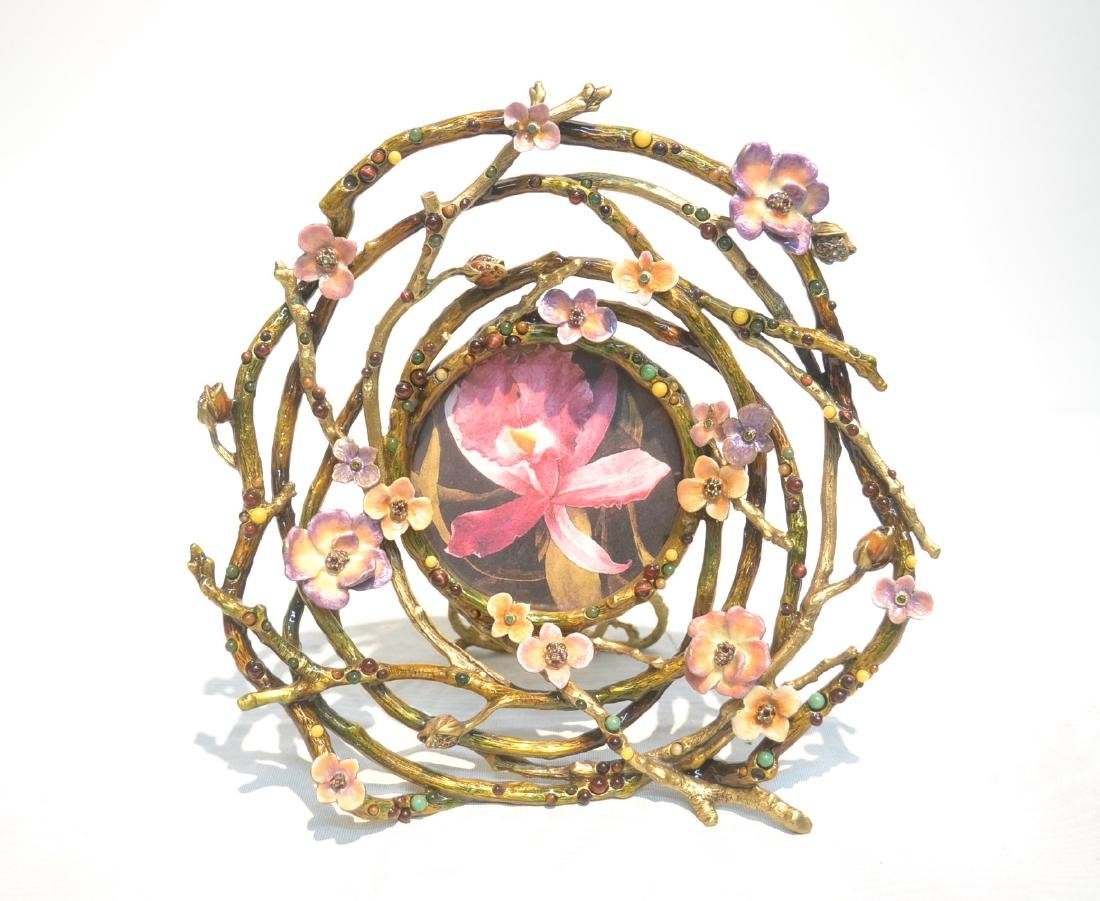 JAY STRONGWATER ENAMELED BRONZE ROUND BRANCH