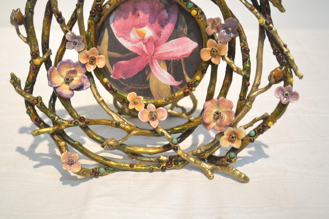 JAY STRONGWATER ENAMELED BRONZE ROUND BRANCH - 4