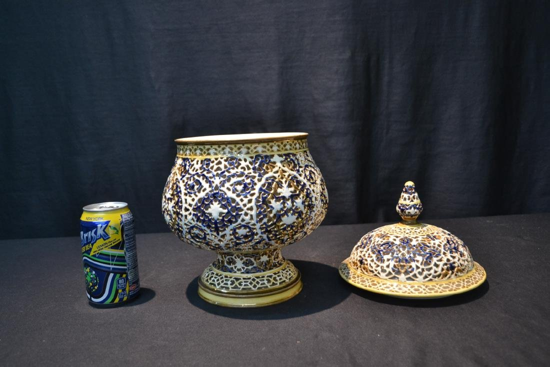 SZOLNAY RETICULATED DOUBLE WALL COVERED BOWL - 4