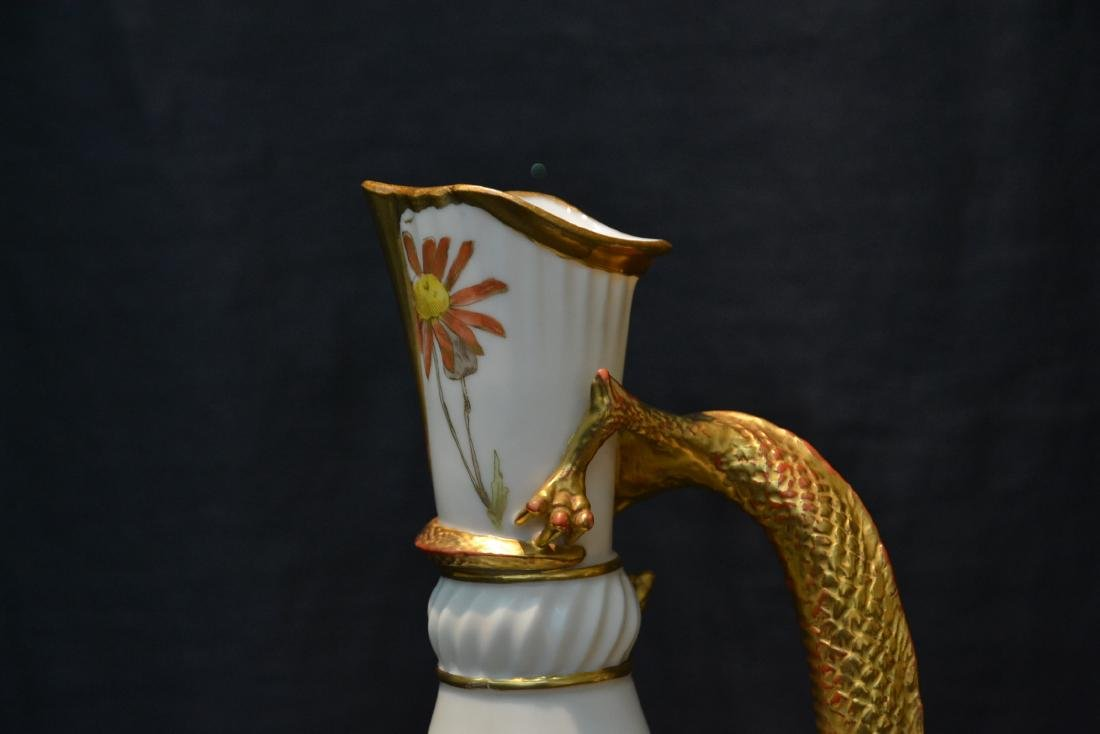 ROYAL WORCESTER LIZARD HANDLE PITCHER - 2