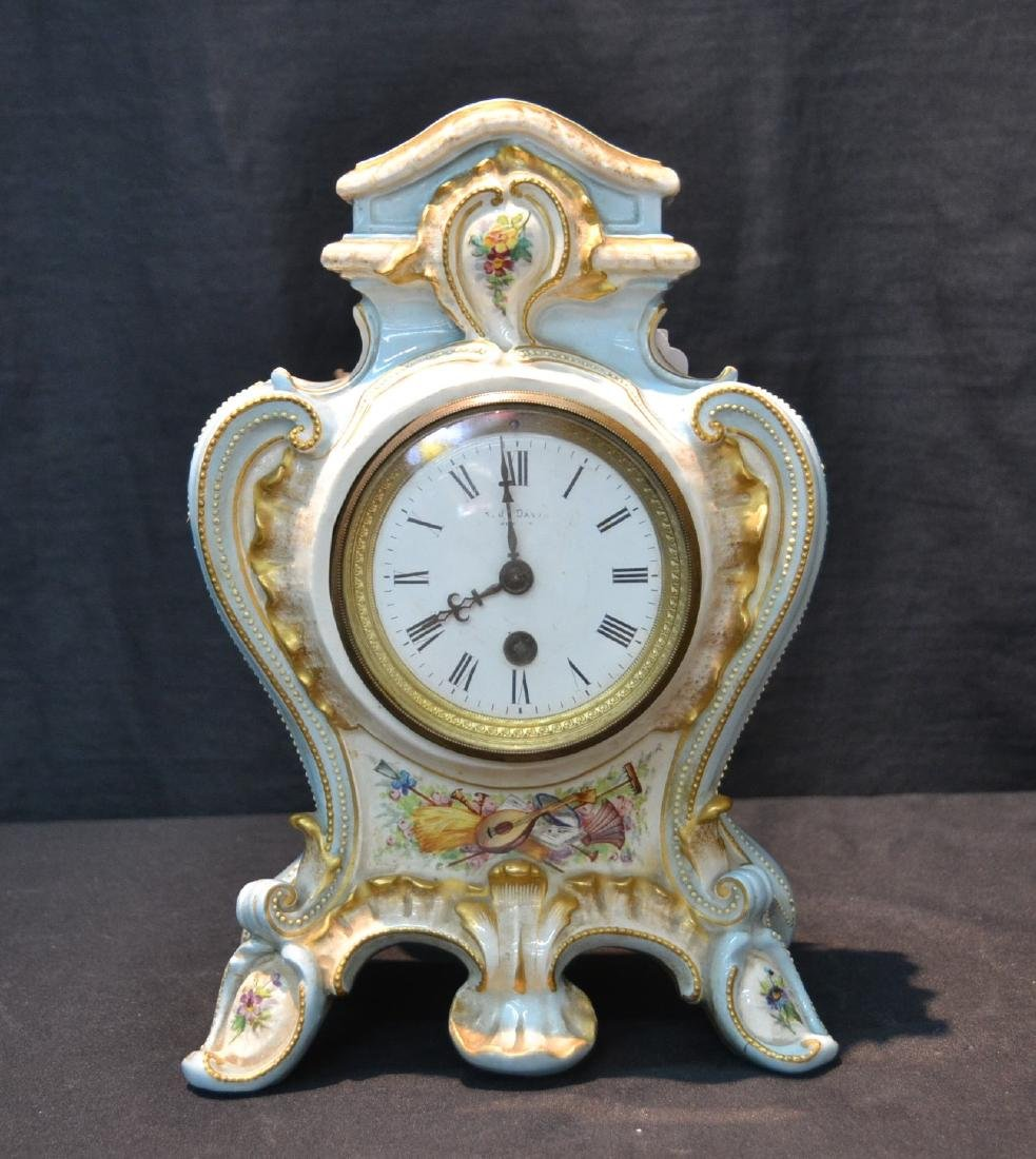 PORCELAIN CLOCK WITH FLOWERS