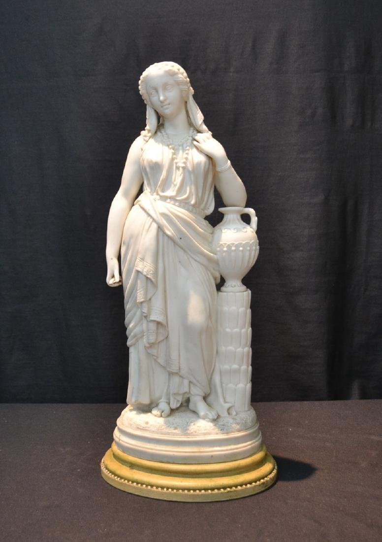 PARIAN FEMALE FIGURE LEANING ON URN