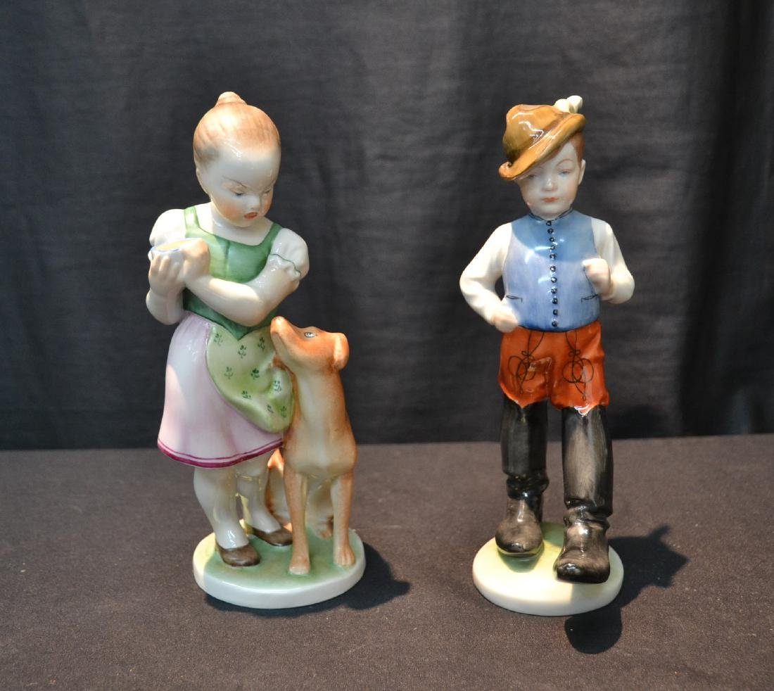HEREND PORCELAIN BOY & HEREND PORCELAIN