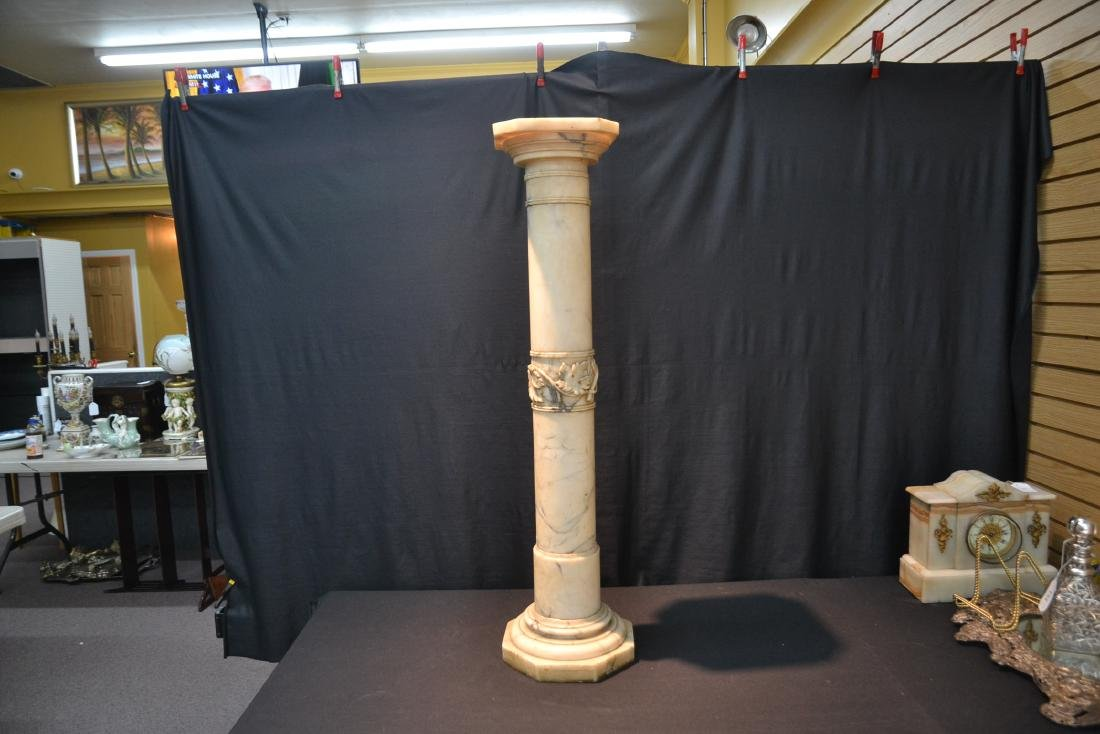 WHITE MARBLE PEDESTAL WITH CARVED SECTION - 2
