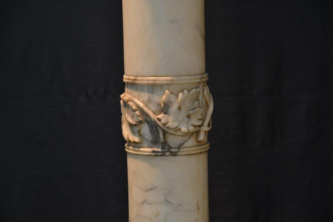 WHITE MARBLE PEDESTAL WITH CARVED SECTION - 3
