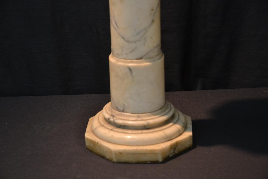 WHITE MARBLE PEDESTAL WITH CARVED SECTION - 4