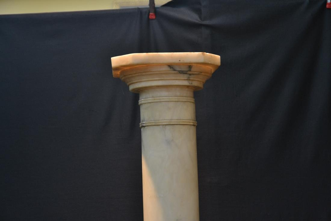 WHITE MARBLE PEDESTAL WITH CARVED SECTION - 5