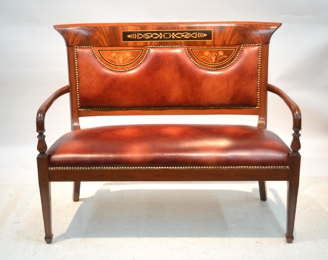 CONTEMPORARY INLAID LEATHER SEAT SETTEE