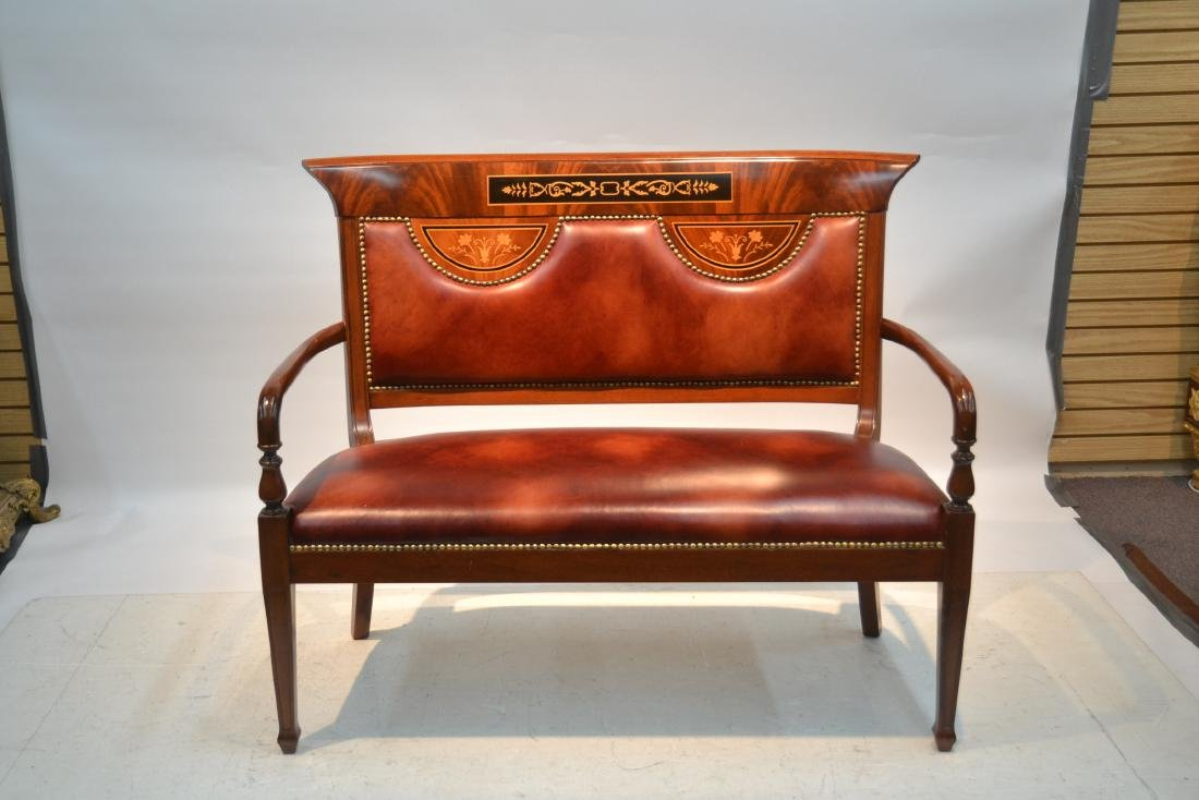 CONTEMPORARY INLAID LEATHER SEAT SETTEE - 2