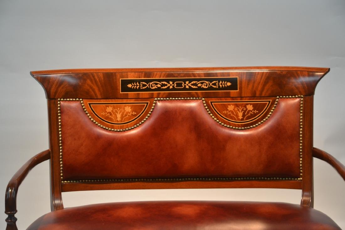 CONTEMPORARY INLAID LEATHER SEAT SETTEE - 3