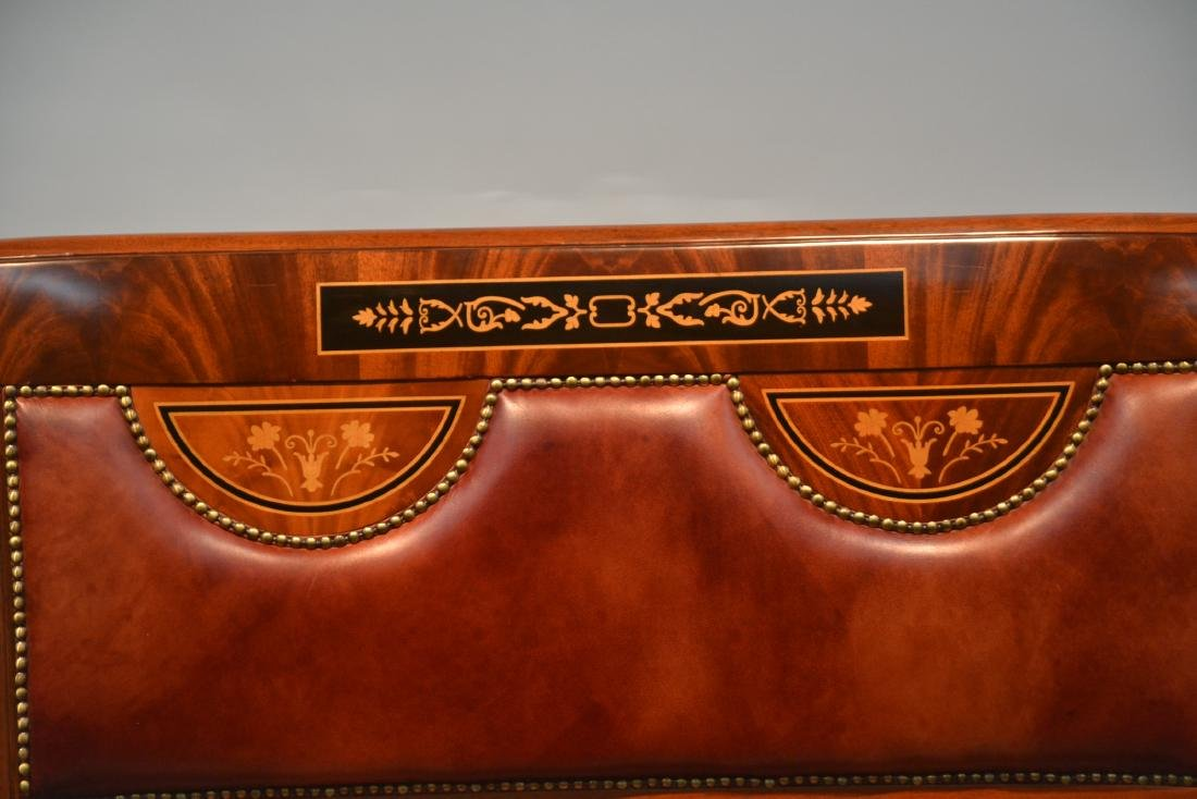 CONTEMPORARY INLAID LEATHER SEAT SETTEE - 5